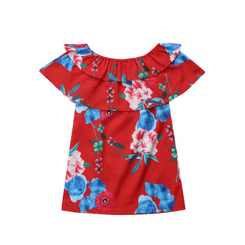2019 bulk wholesale print sleeveless ruffle toddler clothing baby clothes kids tops