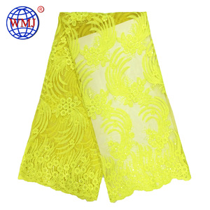 New African design Glitter Yellow sequins cord tulle lace fabric for dress