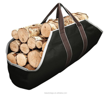 Large Canvas Log Tote Bag Carrier Indoor Fireplace Firewood Totes Holders Round Woodpile Rack Fire Wood Carriers
