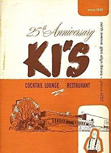 KI's Cocktail Lounge Restaurant Menus & Napkin Glen Ellyn Illinois 1960's