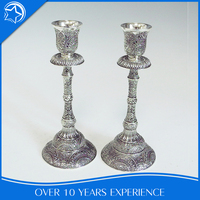 Traditional Large Church Table Antique Silver Plated Candlestick