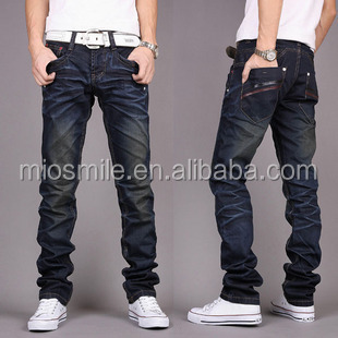 S30817A 2015 COTTON BLUE DENIM JEAN PANTS CUSTOM DESIGN FORMAL STRAIGHT WASHED JEAN PANTS