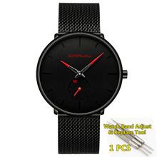 Мужские часы Топ бренд класса люкс Crrju кварцевые мужские часы повседневные сетчатые стальные ультра тонкие наручные часы Мужские часы 2020(Китай)