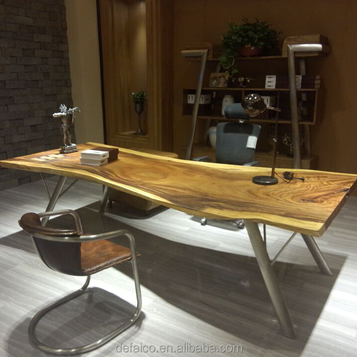 home vintage loft cross iron base writing desk reclaimed solid wood metal office industrial desk