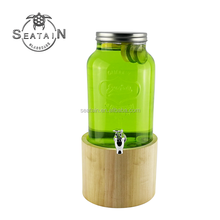 Populaire glas drink <span class=keywords><strong>dispenser</strong></span> met rvs spigots en houten basis