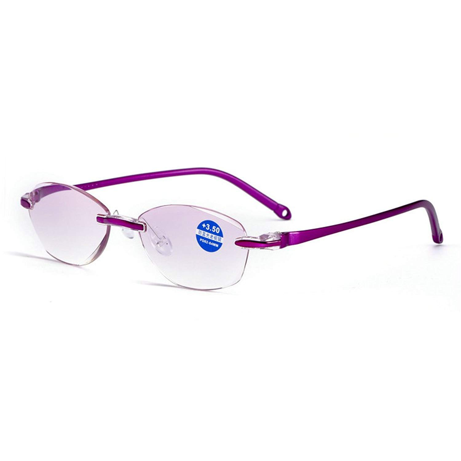 95bbc509521 Get Quotations · MINCL TR90 Rimless Blue Light Blocking Reading Glasses  Womens Lady Red Purple Eyewear