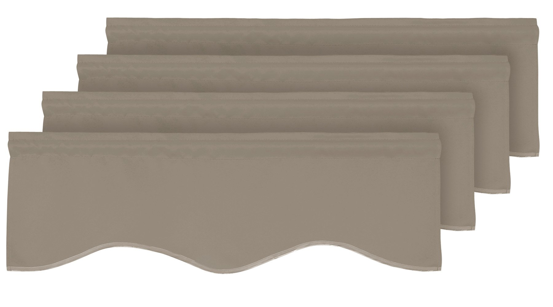 Deconovo Solid Rod Pocket Valances Blackout Short Curtains Scalloped Valances for Living Room 52x18 Inch Khaki 2 Pairs