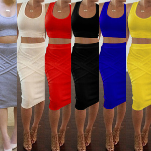 Two Piece Sexy Bag Hip Skirt Bandage Fashion Summer Dresses Women