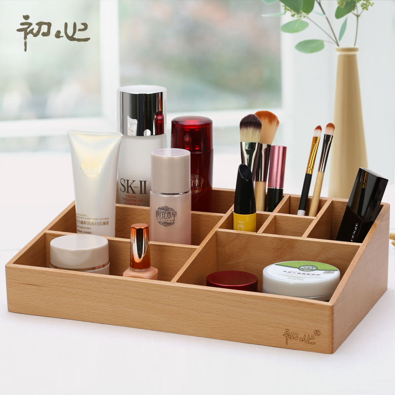 High Quality Beech Makeup Organizer Storage Box Wooden Tabletop Cosmetic  Holder For Lipstick Perfume Nail , Buy Wooden Cosmetic  Organizer,Professional