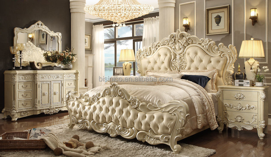 Antique Royal European Style Solid Wood 5PCS Bedroom Furniture, Classic Bedroom Set