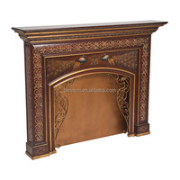 Vintage Lacquer Gilding Arts Wooden Fireplace Mantel, Hand Painting Furniture, Decorative Carved Wooden Fireplace With Drawing