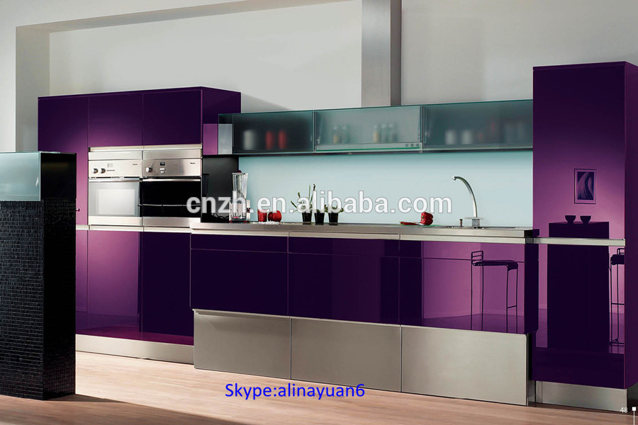 High glossy grey wood grain kitchen furniture matching for Acrylic paint for kitchen cabinets