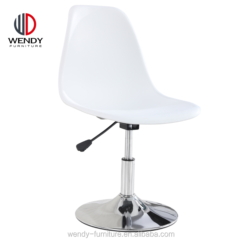 modern wholesale china cheap height adjustable replica plastic office chair with round metal base