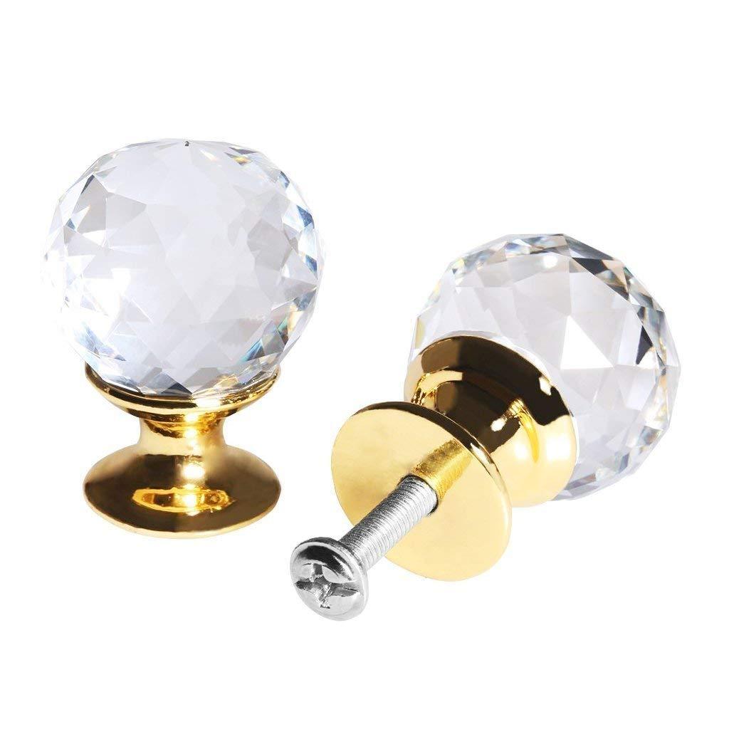 Door Knob - TOOGOO(R)8 X Clear Crystal Glass Door Knob + Screw (diameter 25mm gold)