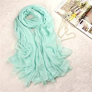 Museya 180*150cm Womens Long Soft Silk Scarf Shawl Stole Wrap (Light Green)