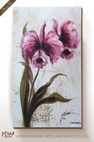 Modern High Quality Cheap Price Abstract Canvas Red Orchid Floral Flower Oil Painting Wall Art Printed for Home Decor