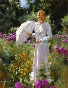 Beautiful girl oil painting with white dress holding white umbrella wall art