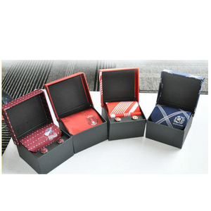 Custom logo design 100% polyester tie necktie box gift set with Cufflink