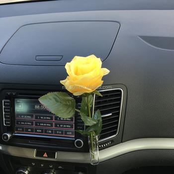 Car Vent Air Freshener Flower Vase With Metal Clip Gl Bottle