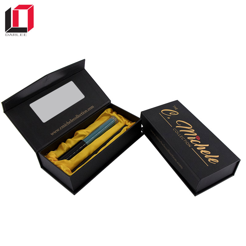 Matte black magnetic luxury lipstick gift packaging box with mirror