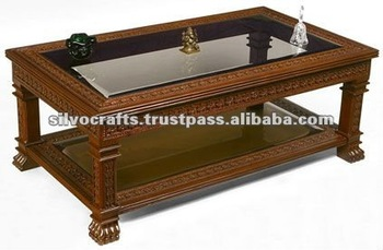 Wooden Carved Lion Paw Coffee Table (Carved Furniture From India)