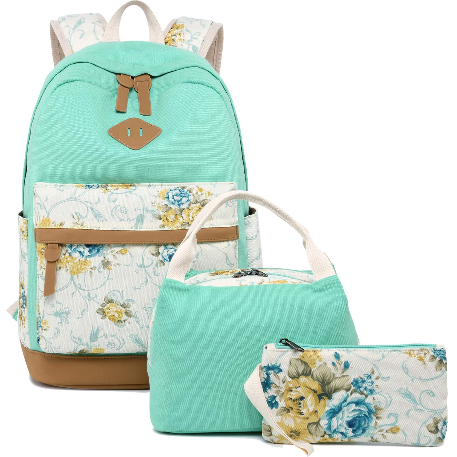 b8f3e8039298 Get Quotations · BLUBOON Teens Backpack for School Girls Bookbags Set  Canvas Laptop Backpack Lunch Bag Pencil Purse (
