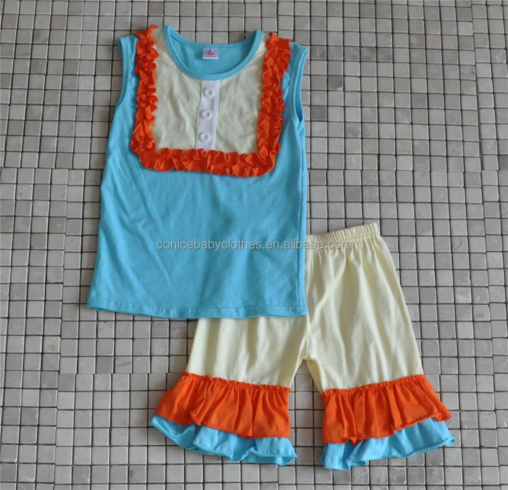 baby girl giggle moon outfits remake light blue tank top and ruffle short pant boutique clothing