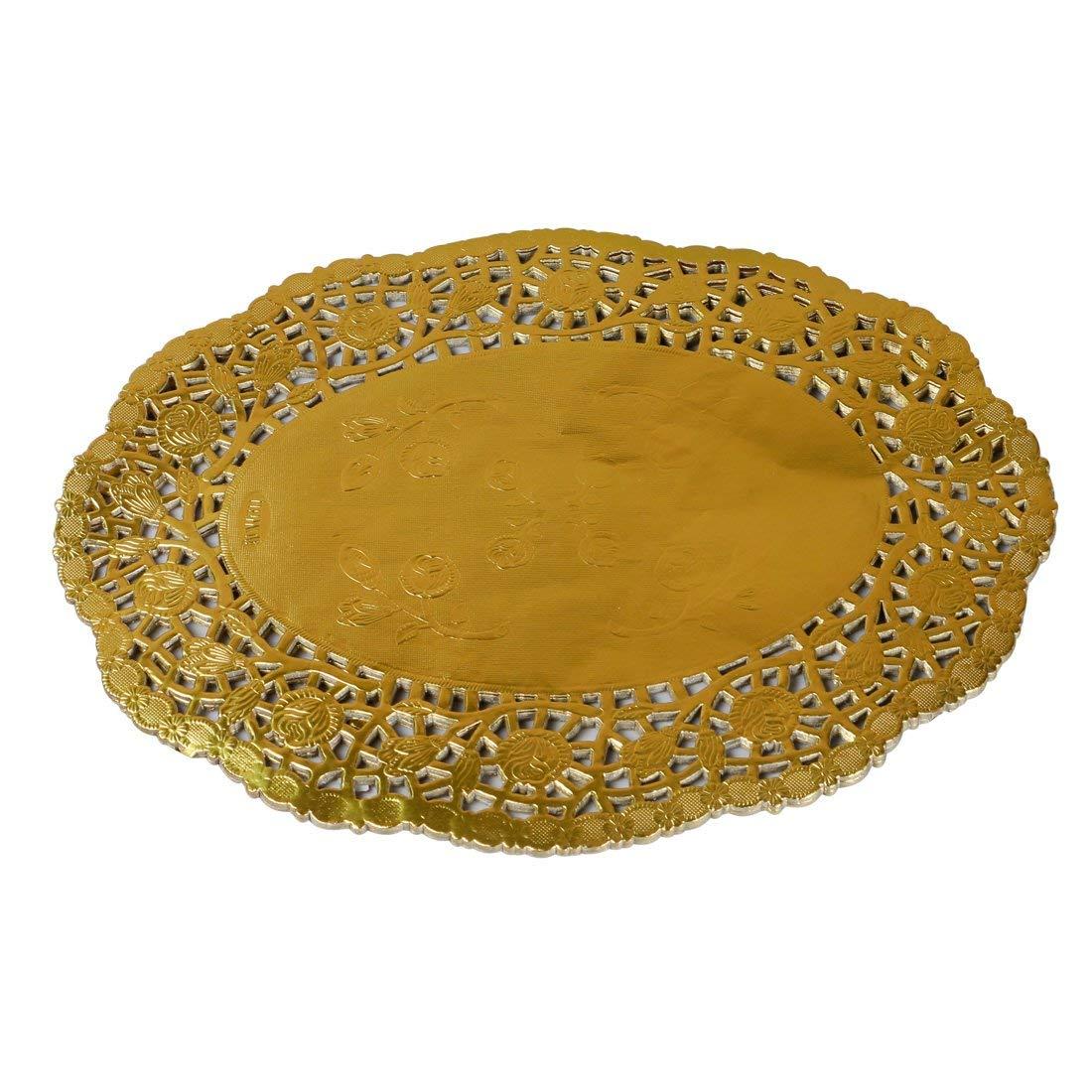 Heeler 40 Pcs Gold Lace Paper Doilies Gold Foil Oval Paper Doilies Cake Packaging Golden Paper Mat Doily 11.5 Inch