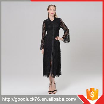 a8877696f9544 Uzun Kollu Müslüman Abiye Maxi Tarık Elbise Düz Siyah Uzun Elbise Kurti
