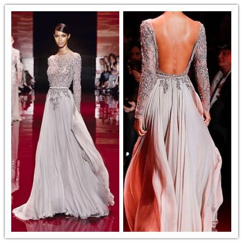 elegant long sleeve high neck prom gowns 2015 zuhair murad evening gowns open back vestidos de. Black Bedroom Furniture Sets. Home Design Ideas