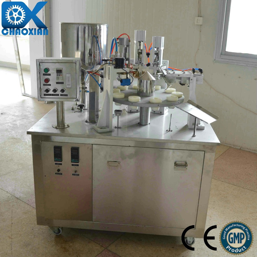 semi-automatic cosmetic plastic pipe dosing and sewing machine