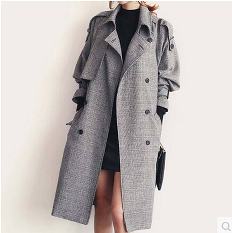 1ad056f5af611 Get Quotations · 2015 new fall fashion brand long Trench coat women Double  breasted Gray plaid coat women loose
