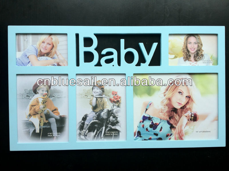 """Bébé en Bois Cadre photos Multi-Ouverture Cadre Photo Détient 3 Photos 6/""""x4/"""""""