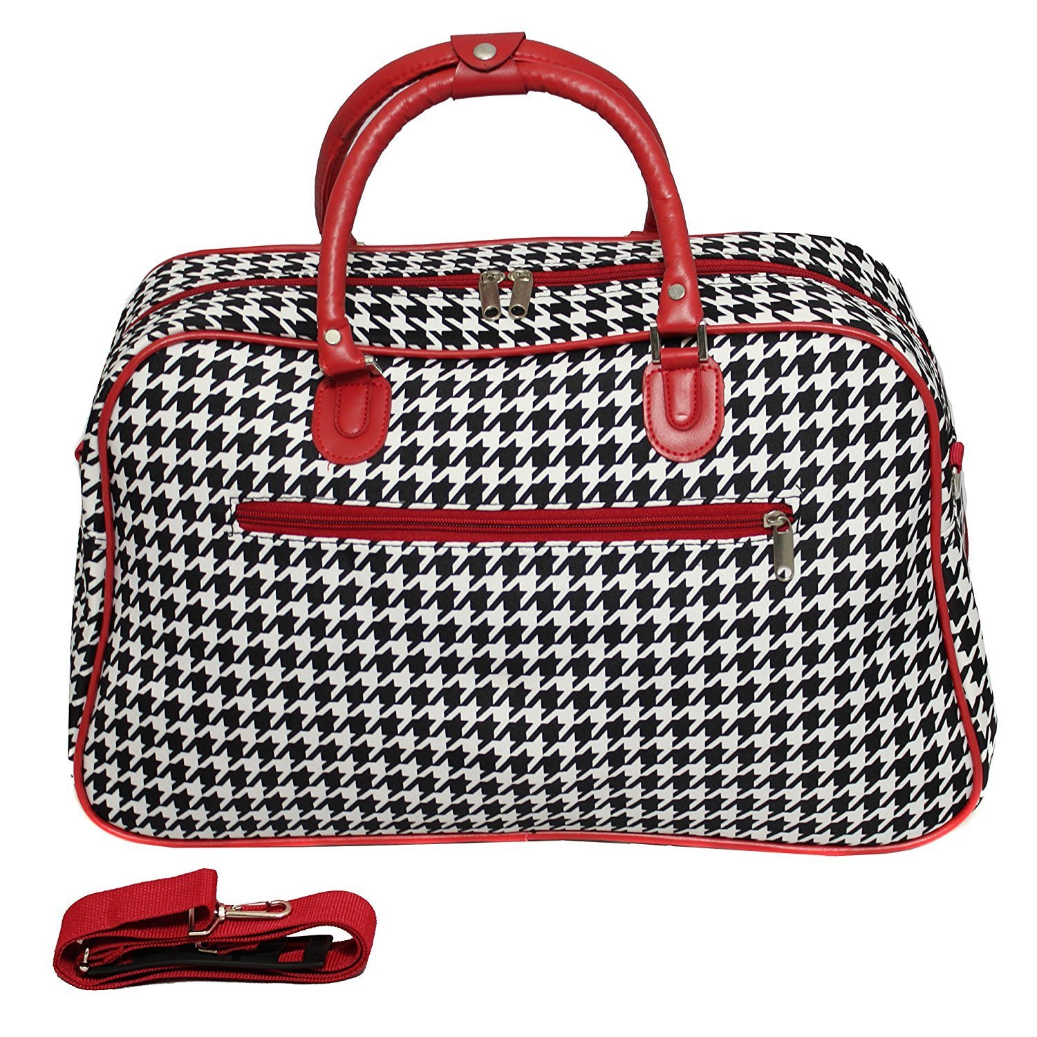 Red Girls Houndstooth Sports Pattern Carry Tote Duffle Bag, Geometric Themed