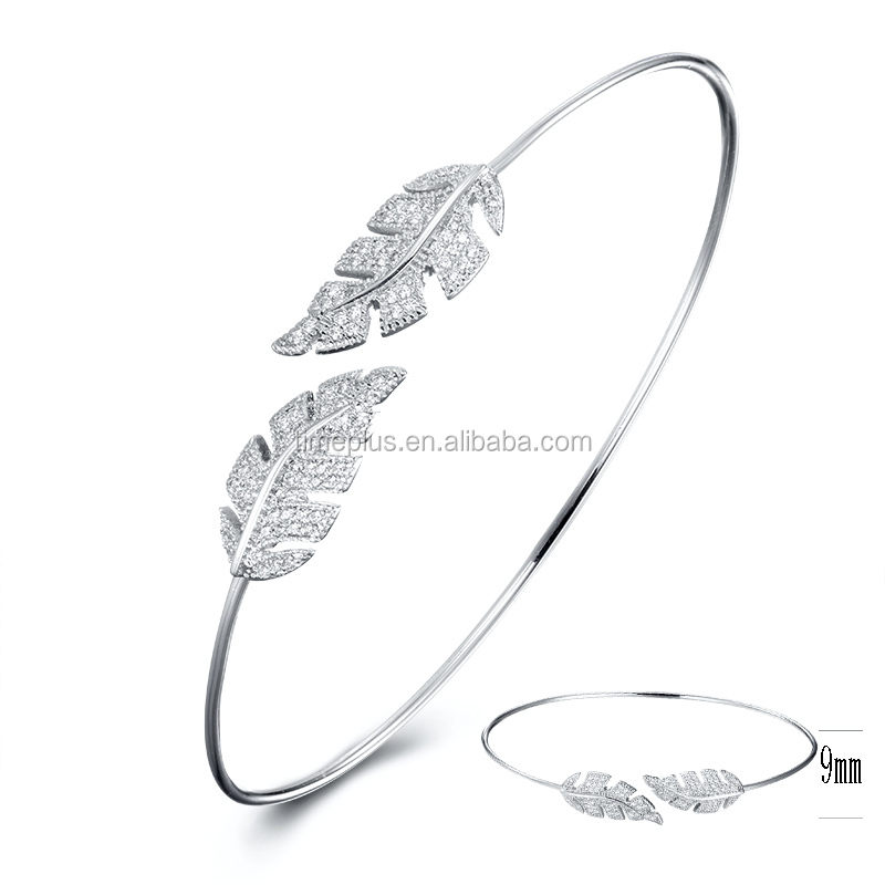 Townshine,Fashion Jewelry Accessories Simple Design Cuff 925 Sterling Silver Fancy Bangles