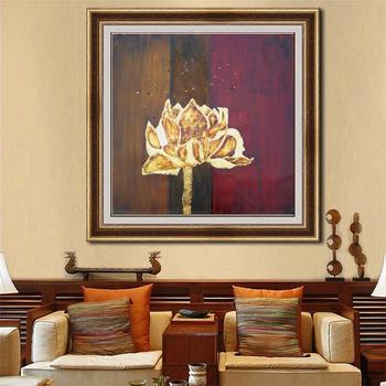 Décor à La Maison Mur Art Photos Pour Salon Feuille D Or Lotus Toile Peinture à L Huile Buy Peinture à L Huile De Fleur Lumineuse Peinture à L Huile