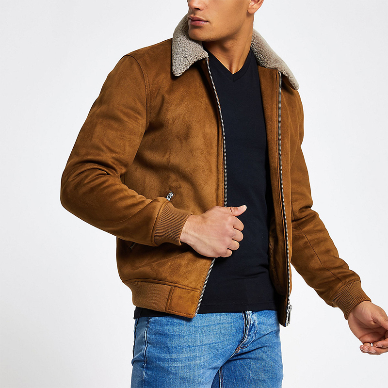 OEM high quality light brown faux suede fleece collar jacket