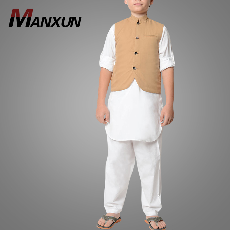 New Arrival Cotton Kurta Pajama with Vest-set of 3 Pieces Thobe for Boys Fashion Modern Jubba Islamic Clothing