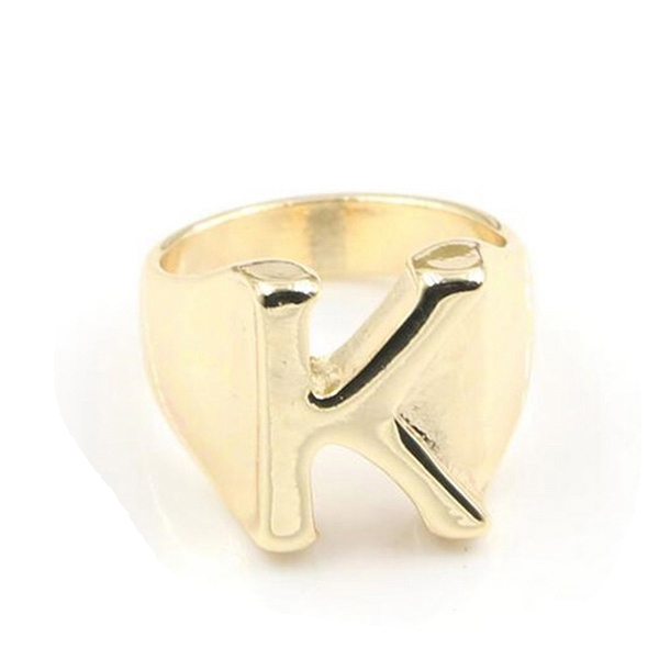 Gold Plated Zinc Alloy Letter Alphabet K Ring For Women