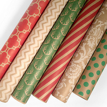 Good Quality elegant patterns printed kraft roll gift wrapping paper wholesale