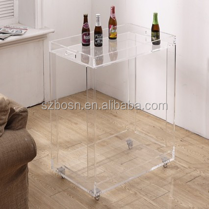 Clear Modway Trading Rolling Bar Cart, Perspex Tables, Cheap Price