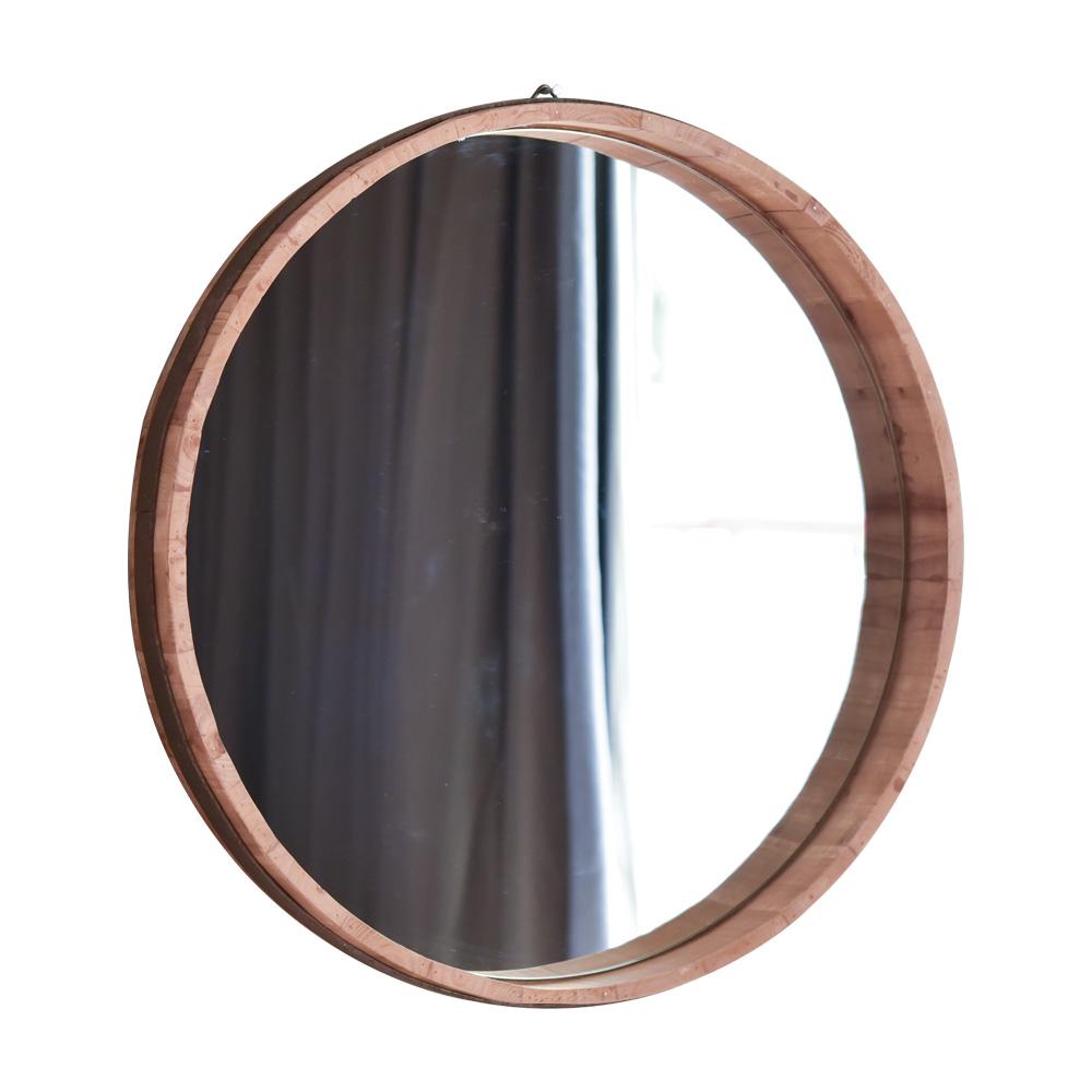 Loft estilo de madera redonda espejo decorativo enmarcado/pared ...