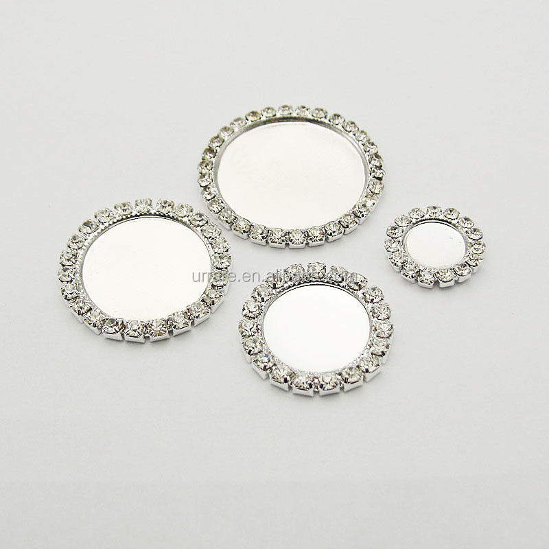 20mm Inner Silver Color Rhinestone Metal Round Blank Tray Settings Fit For Cameo or Cabochons