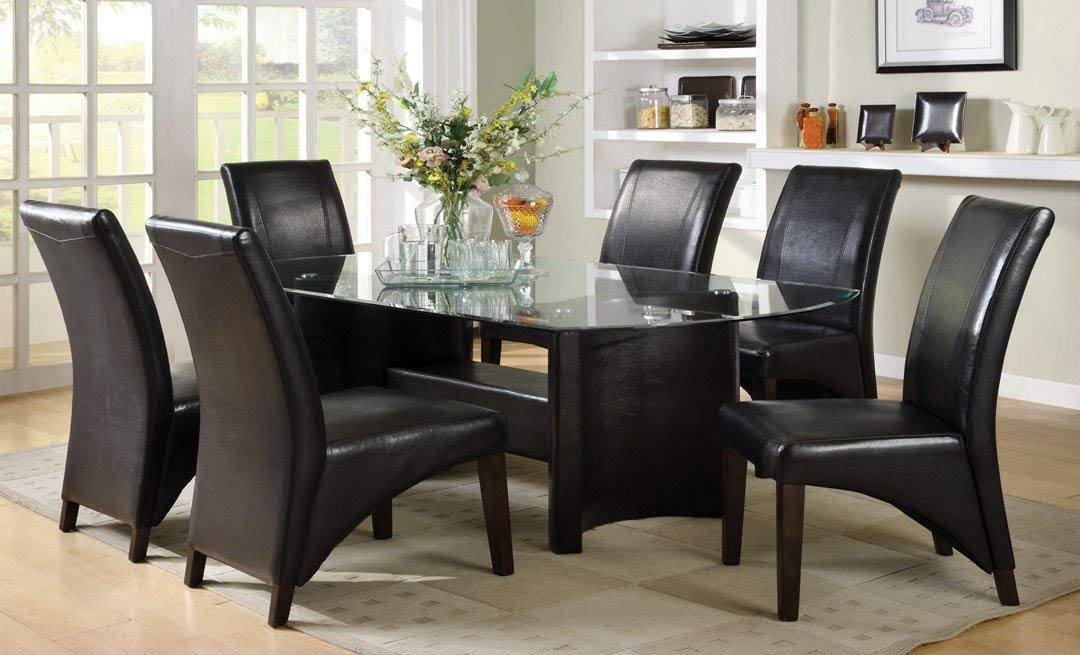7 Pc. Madison in a Contemporary Style Espresso Wood Finish with Beveled Glass Table Top Dining Set