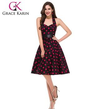 Grace Karin Ladies Halter Fabulous 50s Dresses Cotton Big Polka Dots 1950s  Fashion Plus Size Vintage Retro Dress Cl4599-5# - Buy Plus Size Vintage ...