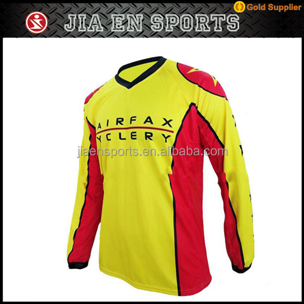 Stylish cycling team sets summer breathable short top sublimated printed mountain bike jersey