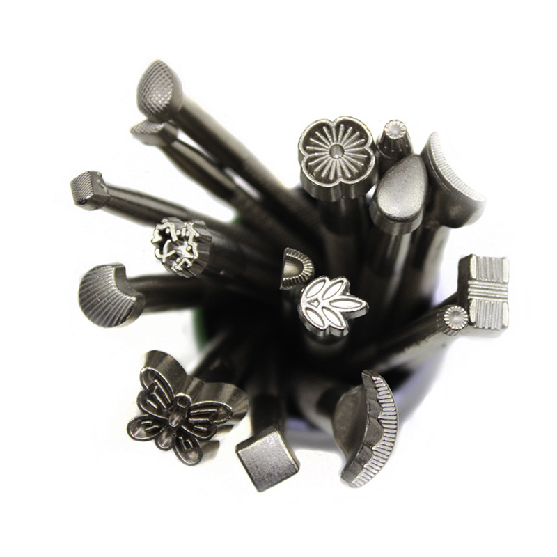 16pcs/lot DIY Leather Working Saddle Making Tools Set Carving Leather Craft Stamps Set Craft Tools --M25