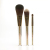 Transparent plastic glitter handle gift 3 pcs luxury cosmetic tools gold makeup brushes set