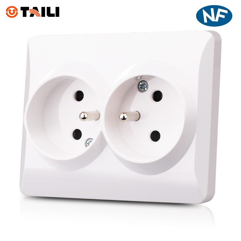 Home Decoration Wall Socket EU Standard Double French Socket with earth contact Wall outlet Plug 110~250V16A Power Socket TAILI