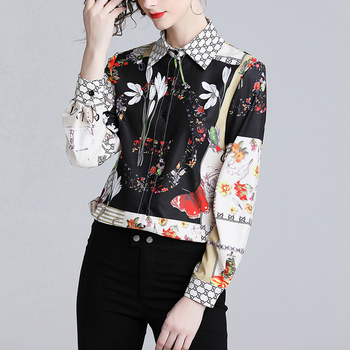 Modern design new products fashion elegant casual floral printed slim turn down collar long sleeve female black tops and blouses